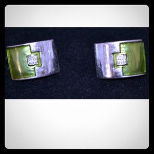 Vintage Givenchy Lime Green and Silver Earrings